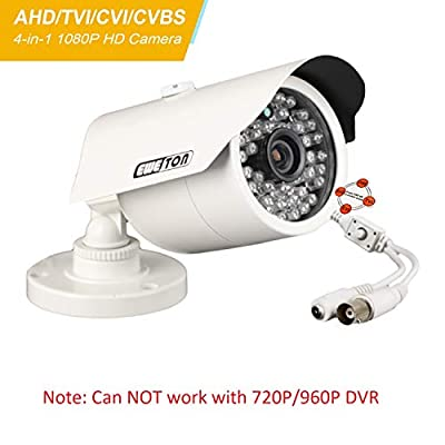 EWETON 1080P Hybrid Bullet Security Camera, 2.0 Megapixel HD 4-in-1 TVI/CVI/AHD/CVBS Waterproof Outdoor Surveillance Camera, 3.6mm Lens 48 LED 130ft IR Night Vision, Aluminum Alloy Housing by EWETON