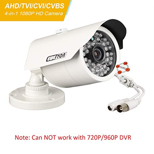 EWETON 1080P Hybrid Bullet Security Camera, 2.0 Megapixel HD 4-in-1 TVI/CVI/AHD/CVBS Waterproof Outdoor Surveillance Camera, 3.6mm Lens 48 LED 130ft IR Night Vision, Aluminum Alloy Housing
