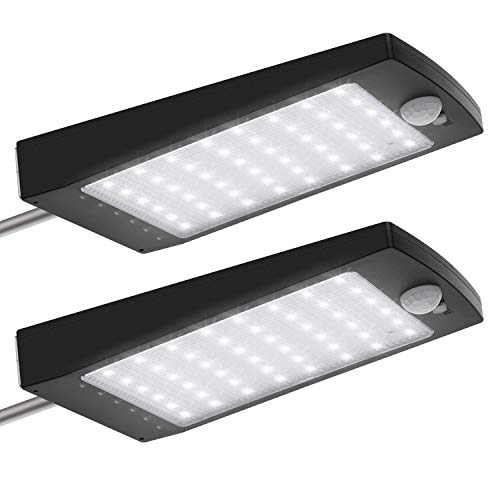 Solar Motion Lights Outdoor 48LEDs Adjustable Brightness JACKYLED Wireless Gutter Light with Remote Control Waterproof Security Lights for Porch Front Door Garage Garden Fence Pack of 2 Black
