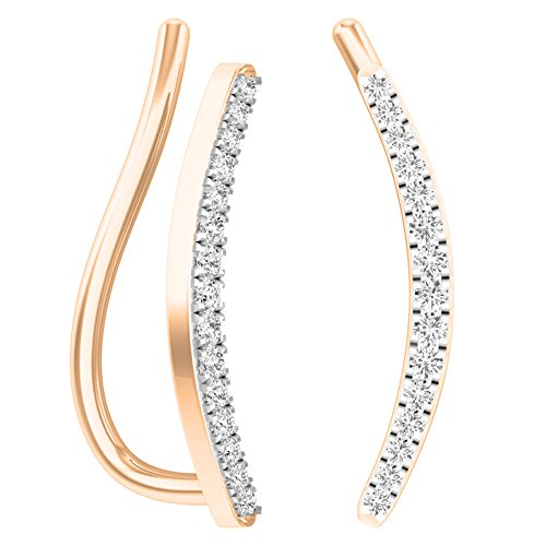 Dazzlingrock Collection 0.10 Carat (ctw) 14K Round White Diamond Ladies Crawler Climber Earrings 1/10 CT, Rose Gold ()