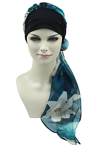 Scarf Fashion Tied (Luxury Womens Head Scarf Pre Tied Chemo Hat Beanie Sleep Turban Headwear for Cancer)