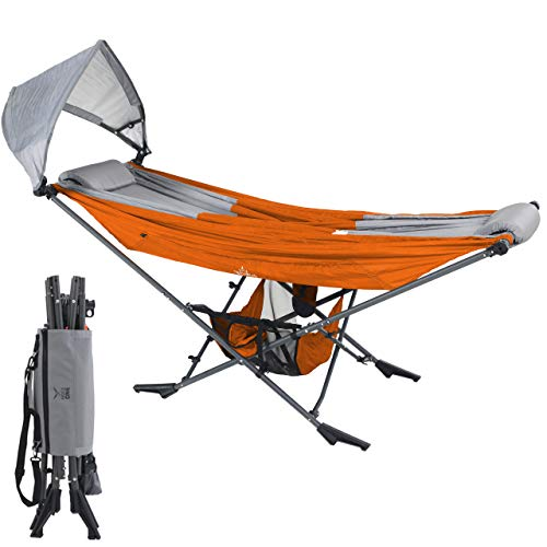 Mock ONE - Compact Portable Folding Hammock with Free Standing Frame includes Carrying Wrap and Sun Shade Perfect for Outdoor, Patio, Camping, Beach, and Festivals (Orange/Gray)