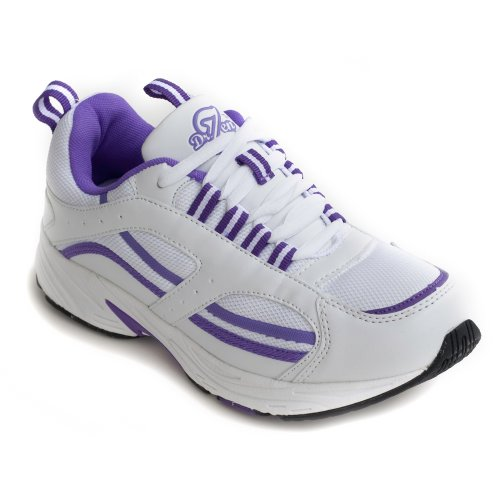 Dr. Zen Lori Women's Therapeutic Diabetic Extra Depth Shoe: White/Purple -9.0 X-Wide (4E-6E) Lace ()