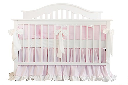 7pc Blush Coral Pink Ruffle Crib Bumper Bedding Set, used for sale  Delivered anywhere in Canada