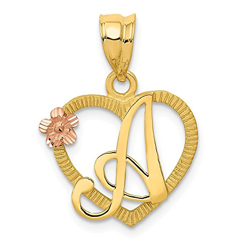 14k Two Tone Yellow Gold Initial Monogram Name Letter A In Heart Pendant Charm Necklace Fine Jewelry Gifts For Women For Her