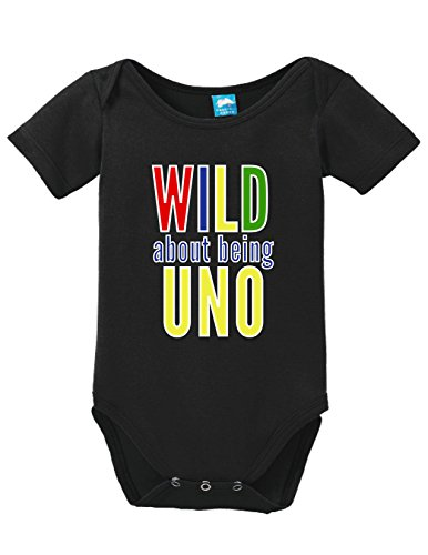 Wild About Being Uno Funny Bodysuit Baby Romper Black 12-18 Month]()