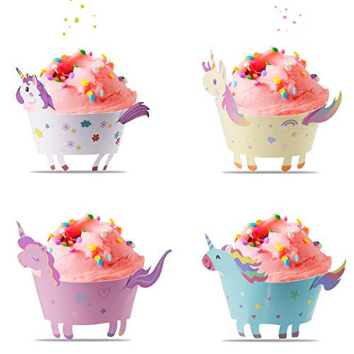 Unicorn Cupcake Wrappers + Toppers, Cute Cake Decorations for Girl Birthday Party Supplies, Baby Shower 4 Styles Set of 48- By Vajeme ()