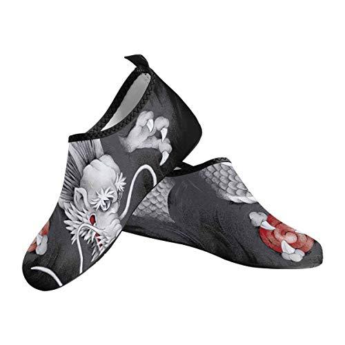 INTERESTPRINT Men's Aqua Water Shoes Japanese Dragon Barefoot Shoes Beach Beach Socks US12-US13