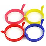 4pcs Kitchen Cooking Silicone Fried Oven Poacher Pancake Egg Poach Ring Mould(Random Colors)