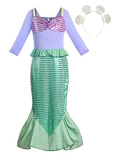 Relibeauty klein meisje prinses jurk lange mouwen zeemeermin kostuum rok(10 jaar)