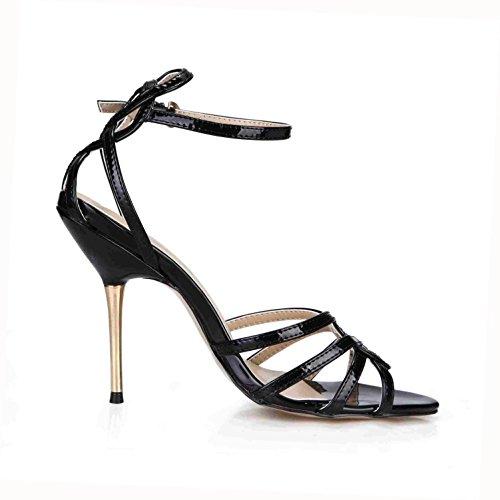 Best 4U? Women's Summer Sandals Patent Leather Comfortable Basic Pumps Straps Peep toe 10.7CM High Heels Rubber Sole One Buckle Shoes Black hUt58lCDli