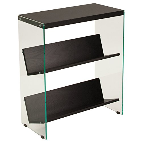 Flash Furniture Highwood Collection Dark Ash Wood Grain Finish Bookshelf with Glass Frame by Flash Furniture