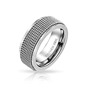 Mens Rope Chain Mail Mesh Cable Wedding Band Ring for Men for Women Silver Tone Stainless Steel 8MM
