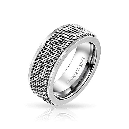 (Bling Jewelry Mens Rope Chain Mail Mesh Cable Wedding Band Ring for Men for Women Silver Tone Stainless Steel 8MM)