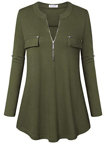 Bulotus Women's Plus Size Solid 3/4 Sleeve Zipper Top Casual Shirt,Green,XX-Large by Bulotus (Image #2)