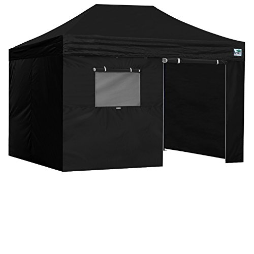 Eurmax 8×12 Ez Pop up 4 Wall Canopy Instant Outdoor Party Tent Shade Gazebo with 4 Side Walls Black