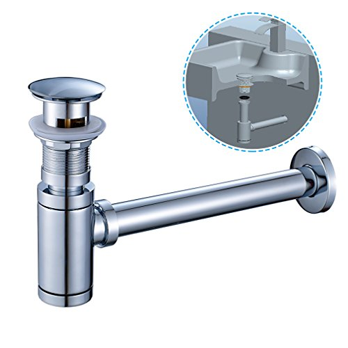 ROVATE Bathroom Sink Round Bottle Trap, Zinc Alloy Bottle Waste Trap Drain Kit P-TRAP Tube and Pop Up Drain Stopper with Overflow, Chrome - P-trap Kit
