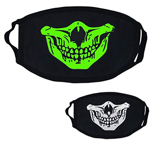 Upaking Black Luminous Ghost Skull Mask, Half Face Scary Horror Impressive Mask for Costume Parties -