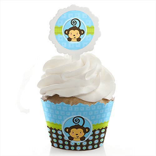 Big Dot of Happiness Monkey Boy - Baby Shower or Birthday Party Cupcake Wrapper and Pick - Cupcake Decorating Kit - Set of (Monkey Cake)