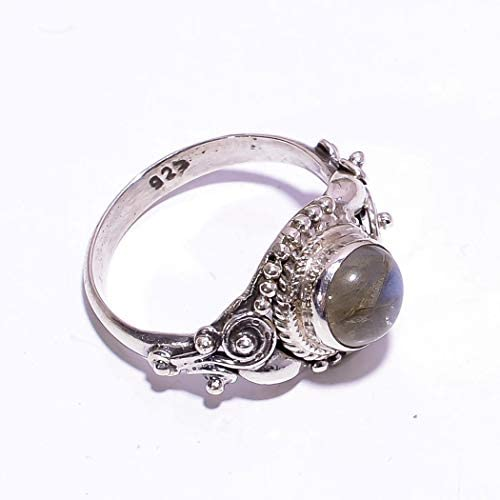 mughal gems /& jewellery 925 Sterling Silver Ring Natural Labradorite Gemstone Fine Jewelry Ring for Ladies Size 5 U.S