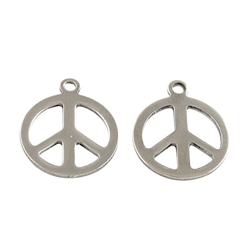 - NBEADS 200 Pcs 304 Stainless Steel Peace Sign Charm Necklace Bracelet Pendants, DIY Handmade Accessories Jewelry Findings and Supplies