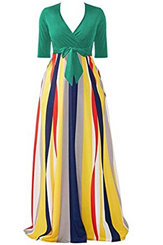Half Sleeves Stripes Sexy V Neck Womens A-line Maxi Dress Floor-Length Dress for Cocktail Party with Pockets (Dress Cool Summer)