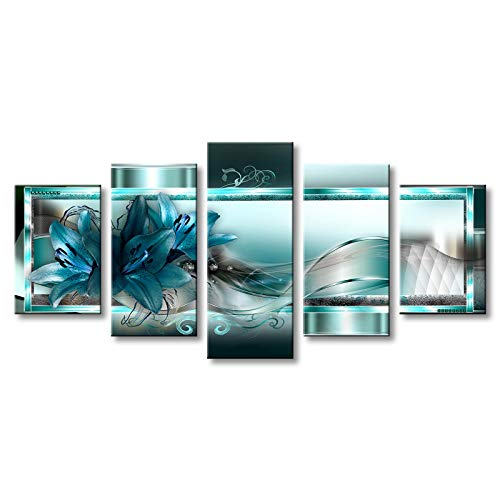 - Turquoise Canvas Art Wall Decor Flower Print Painting