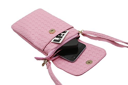 SE Style J3 iPhone S8 J5 Plus 6 Cuir à Main Pochette Cellphone Rose pour LefRight PU Mini 7 Bandoulière J7 Sac Tissé S7 Portefeuille Samsung Pochette S6 en Plus aqnZd4