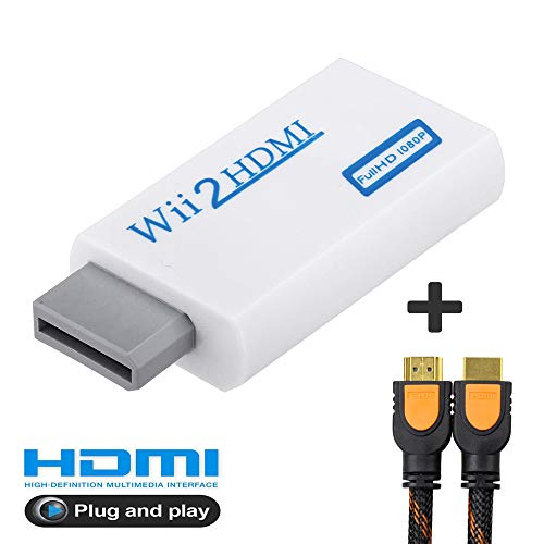 AITOO Wii to Hdmi Adapter - Wii to HDMI Converter Real 720P 1080P HD Output Video & 3.5mm Audio Converter Adapter + 2M High Speed HDMI Cable for Nintendo Wii, Supports All Wii Display Modes (Breakout Av Cable)