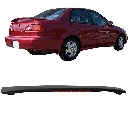 Trunk Spoiler Fits 1998-2002 Toyota Corolla | OE Factory Primer Matte Black ABS Rear Spoiler Wing & LED Brake Lamp by IKON MOTORSPORTS | 1999 2000 2001
