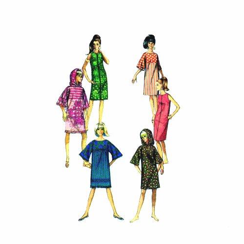 1960s Misses Hooded Shift Dress, Caftan Simplicity 6885 Vintage Sewing ()