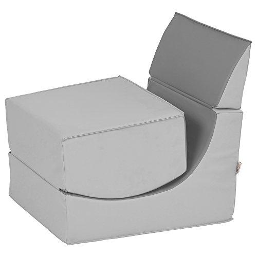 ECR4Kids SoftZone Ergonomic Fold A Way Convertible Foam Kids Chair, Grey  And Light