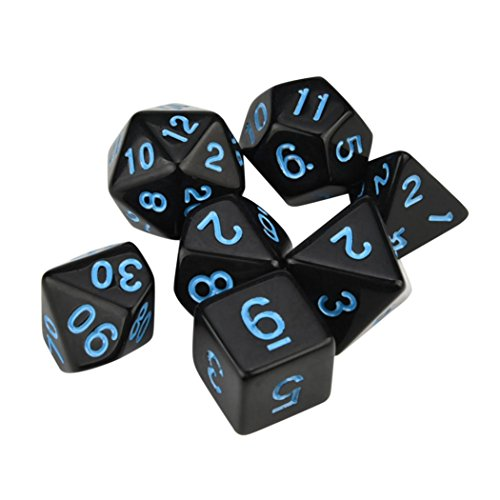 VIASA 7pcs/Set TRPG Game Dungeons & Dragons Polyhedral D4-D20 Multi Sided Acrylic Dice (Blue)
