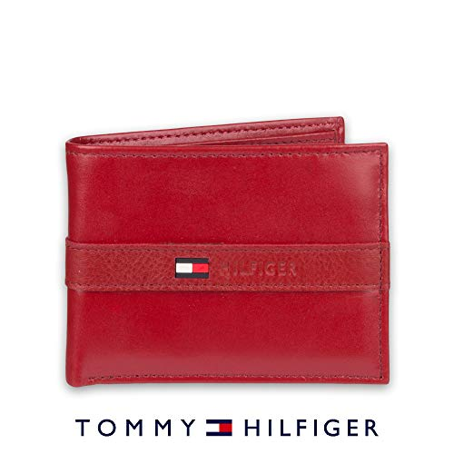 Tommy Hilfiger Men's Leather Wallet - Thin Sleek Casual Bifold with 6 Credit Card Pockets and Removable ID Window, Red