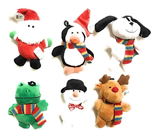 Beverly Hills Teddy Bear Co Plush Christmas Ornaments, [6 Pack] Xmas Hanging Ornaments Decorations Festive Season - Santa/Snowman/Reindeer/Penguin/Frog/Dog Ornaments Plush for Christmas Tree