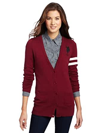 US Polo Assn. Juniors Cardigan Sweater, Wineberry, Large