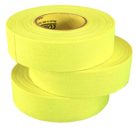 3 Rolls of Comp-O-Stik NEON YELLOW Hockey Lacrosse Bat Cloth Stick Tape ATHLETIC TAPE (3 Pack) Made In The U.S.A. 1'' X 20 Yards
