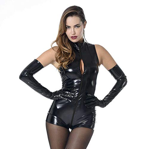 FASHION QUEEN Women's Sleeveless Short Bodysuit Wet Look Catwomen Costume (5XL, Black) -