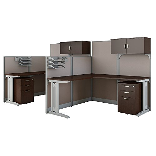 Metal Bush Workstation - Office in an Hour 2 Person L Shaped Cubicle Workstations in Mocha Cherry