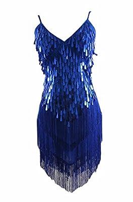 Syne Sun Women's 1920s Gatsby Art Deco Tassel Fringe Sway Flapper Costume Dress