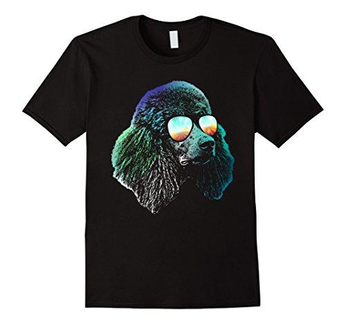Mens Poodle Neon Dog Shirt XL Black