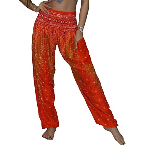 - Lofbaz Women's Harem Boho Gypsy Pants Print - Peacock Orange and Red 2XL