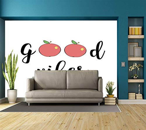 Funky Wall Mural Sticker [ Good Vibes,Cute Apples Cartoon Fruits Be Healthy Go Vegan Eat Clean Theme Diet Food Decorative,Coral Green Black ] Self-adhesive Vinyl Wallpaper / Removable Modern -