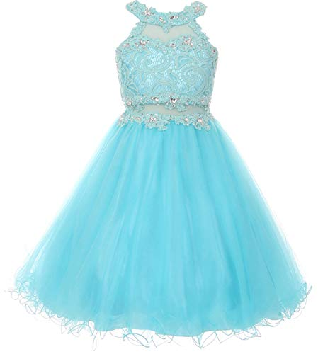 Big Girls' Sparkle Rhinestones Halter Lace Junior Bridesmaid Pageant Flower Girl Dress Aqua 20 - Dress Juniors Aqua