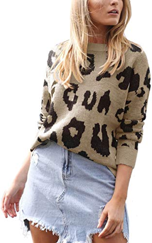 d32c303c037 Angashion Women s Causal Long Sleeve Crew Neck Leopard Print Knitted  Pullover Sweater Tops