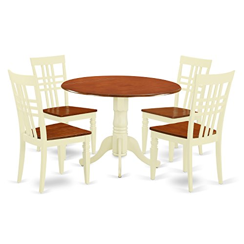 East West Furniture DLLG5-BMK-W 5 PC Dinette Table Set with One Dublin Dining Table & Four Dining Chairs in Buttermilk & Cherry Finish