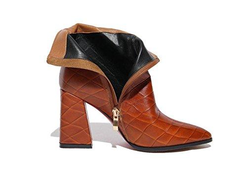 Nvxie Noir Brun Talons D'hiver Courtes Femmes Eur38uk55 Chaussures Automne Mode Rude À Brun Bottines Cuir Sauvages De Hauts En Pointe Dames rwrn7xgCq
