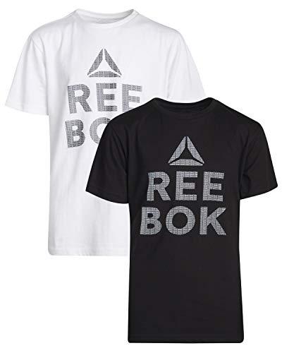 Reebok Boys Short Sleeve T-Shirt (2 Pack) (White/Black, Medium / 10-12)'