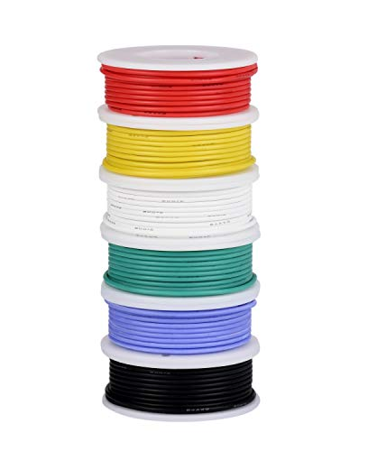 24 Gauge wire, Electrical Wire Kit 24 AWG Flexible Silicone Wire(6 different colored 30 Feet spools) 300V Hookup Wire Stranded Wire Tinned Copper Wire