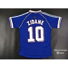 BROOK Zidane#10 France Home Retro Soccer Jersey 1998